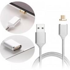 BWOO Magnetic USB to Micro Usb Data Cable – Μαγνητικό Καλώδιο Φόρτισης και Δεδομένων USB σε Micro Usb 1m Silver