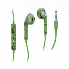 OEM Ακουστικά Stereo (Hands Free) Με Ρυθμιστή Για Apple Πράσινα Με Σχέδιο