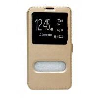 OEM Θήκη Βιβλίο Με Παράθυρα Για Samsung Galaxy J3 (2016) Με Πλάγιο Κούμπωμα Χρυσή