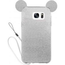 OEM  Θήκη  Σιλικόνης Glitter Ears As Mickey Άσπρη S7 edge