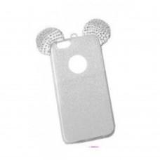 OEM Θήκη  Σιλικόνης Glitter Ears As Mickey Λευκή Για Samsung Galaxy  S7