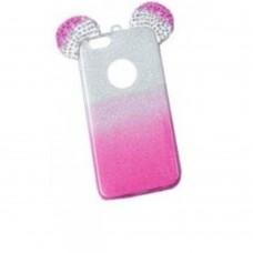 OEM Back Cover Σιλικόνης Glitter Ears As Mickey Ροζ S7 edge